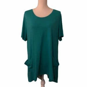 LOGO Lori Goldstein Sz XL Teal & Floral Top/Shirt